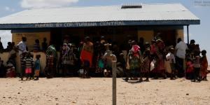 Women and children queue at a health clinic in Kapua, Turkana County, northwest Kenya, 29 January 2017.