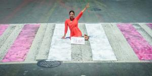 Painting of #DCRainbowCrosswalks Washington