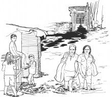There is an illustration showing two women wading away in knee-high water, walking away from a flooded toilet. Two children watch.